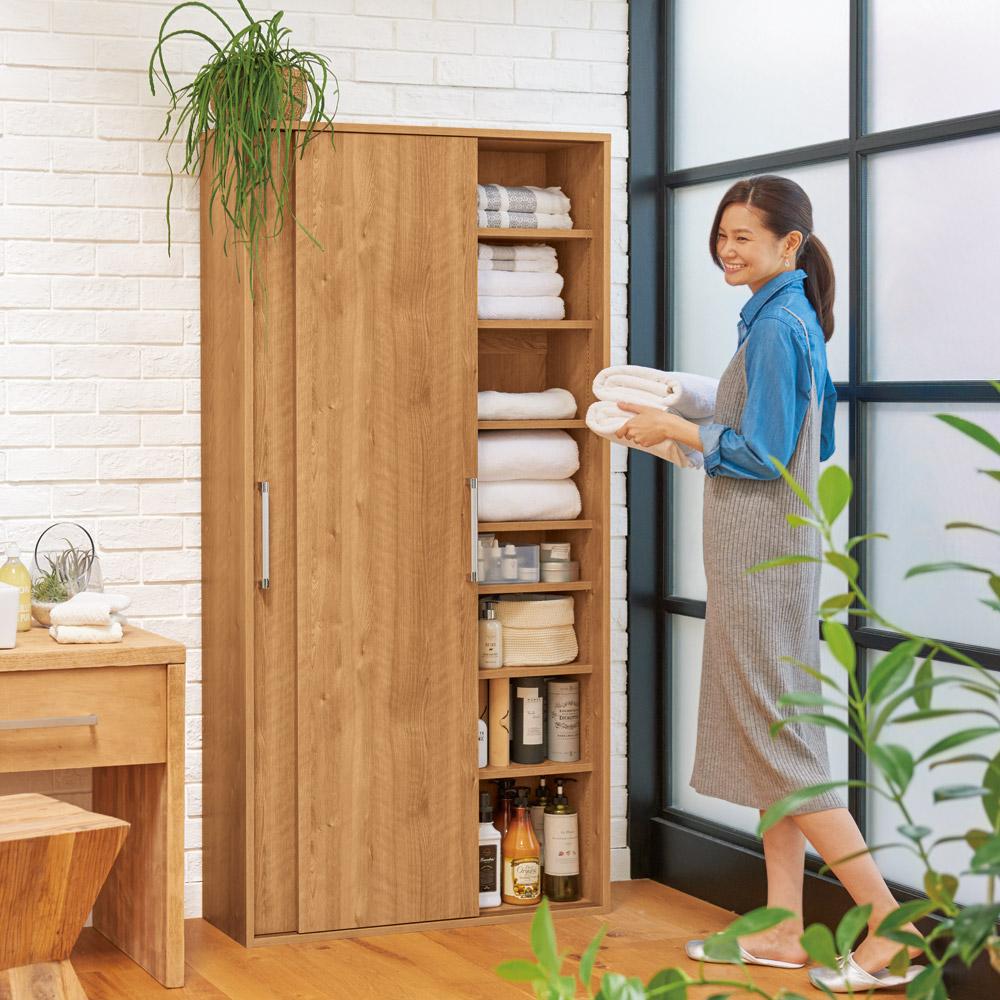 すっきり隠せる薄型引き戸収納庫 幅90cm 通販 - ディノス