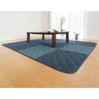 長方形・大190×270cm はっ水しじら織パッチワークこたつシリーズ こたつ敷き(厚さ約1.3cm)