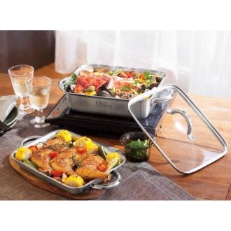 vitacraft/ビタクラフト ダブルグリル鍋 ガラス蓋セットシルバー