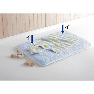 医療用の脱脂綿とガーゼを使ったカラフルパシーマ(R)ベビーシリーズ 肌掛けシーツ(小)&汗とり枕