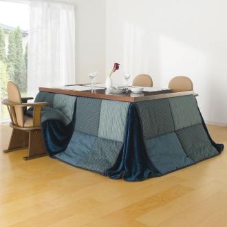 長方形 (はっ水しじら織りパッチワーク ハイタイプこたつ掛け布団)