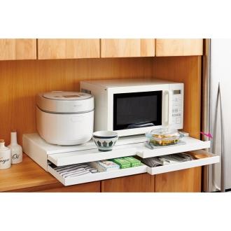 家電周りでの調理をサポートするレンジ下スライドテーブル 引き出し付き 幅80cm