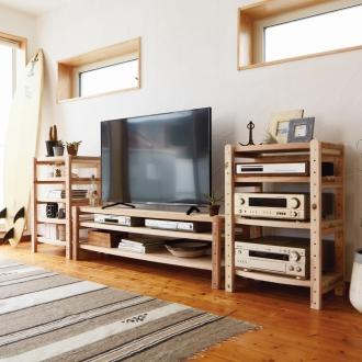 国産杉 頑丈オープンテレビ台 テレビ台・幅149高さ44cm
