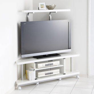 テレビ上の空間を有効活用できるシリーズ コーナー用テレビ台 幅120cm棚1段