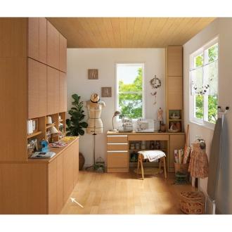 あこがれの書斎スペースを現実にする壁面収納 扉オープン 幅78cm