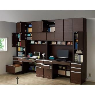 あこがれの書斎スペースを現実にする壁面収納 扉オープン引き出し 幅58cm