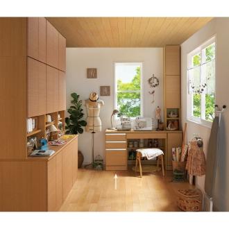 あこがれの書斎スペースを現実にする壁面収納 デスク 左引き出し