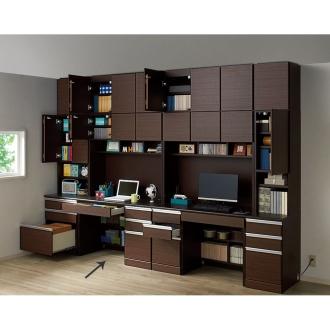 あこがれの書斎スペースを現実にする壁面収納 デスク上棚付き 右引き出し