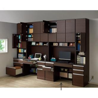 あこがれの書斎スペースを現実にする壁面収納 デスク上棚付き 左引き出し