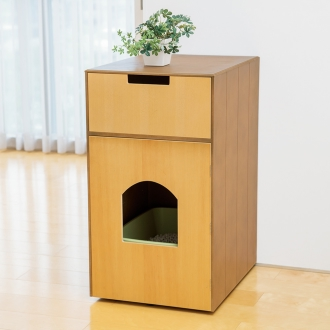 木製ペットトイレカバー 収納付き