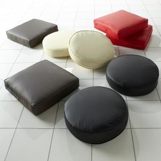 ディノス オンラインショップ合皮シンプルモダン座布団 角型・お得な同色4枚組ブラック