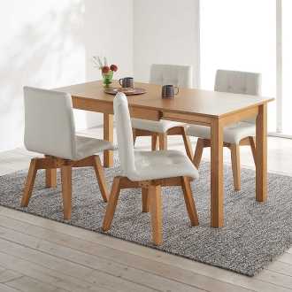 ナチュラルモダンオーク天然木伸長式ダイニング5点セット(伸長式テーブル幅110・150cm+回転チェア2脚組×2)