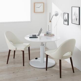 高さ自由自在!カフェスタイルダイニング 3点セット(丸形昇降テーブル径110cm+ラウンジチェア×2) ホワイト