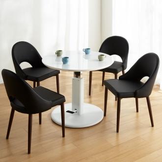 高さ自由自在!カフェスタイルダイニング 5点セット(丸形昇降テーブル径90cm+ラウンジチェア×4) ホワイト