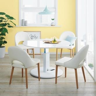 高さ自由自在!カフェスタイルダイニング 5点セット(丸形昇降テーブル径110cm+ラウンジチェア×4) ホワイト