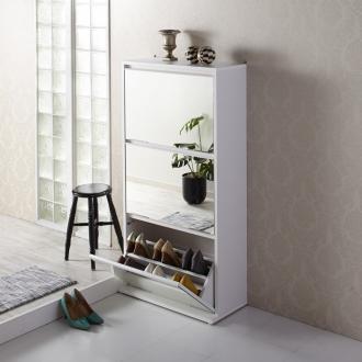 静かに開閉するミラー扉の薄型シューズボックス ダブル 3段・幅70cm