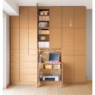 テレビ台の高さが選べて配線も隠せる壁面収納 奥行34cmタイプ 扉タイプ 幅78高さ180cm