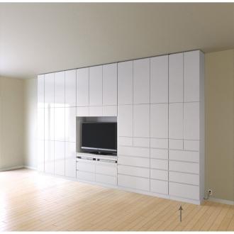 テレビ台の高さが選べて配線も隠せる壁面収納 奥行34cmタイプ 引き出しタイプ 幅58高さ180cm