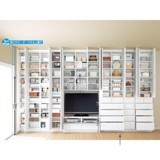 テレビ台の高さが選べて配線も隠せる壁面収納 奥行34cmタイプ 引き出しタイプ 幅116.5高さ180cm