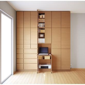 テレビ台の高さが選べて配線も隠せる壁面収納 奥行34cmタイプ PCデスク 幅58高さ180cm