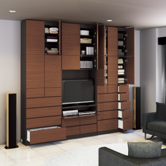 奥行34cm薄型で配線も隠せるスマート壁面収納 テレビ台 ミドルタイプ 幅89.5cm