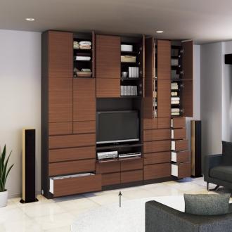 奥行34cm薄型で配線も隠せるスマート壁面収納 テレビ台 ハイタイプデッキ1段 幅89.5cm