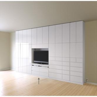 奥行34cm薄型で配線も隠せるスマート壁面収納 テレビ台 ハイタイプデッキ1段 幅121cm