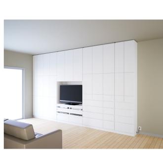 奥行34cm薄型で配線も隠せるスマート壁面収納 テレビ台 ハイタイプデッキ2段 幅89.5cm