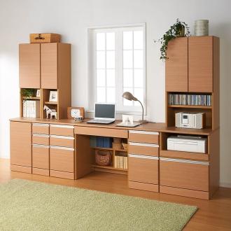 あこがれの書斎スペースを現実にする壁面収納 デスク 両引き出し