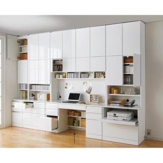 あこがれの書斎スペースを現実にする壁面収納 デスク上棚付き 両引き出し