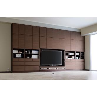 テレビ台の高さが選べて配線も隠せる壁面収納 奥行34cmタイプ テレビ台ロータイプ 幅155高さ180cm