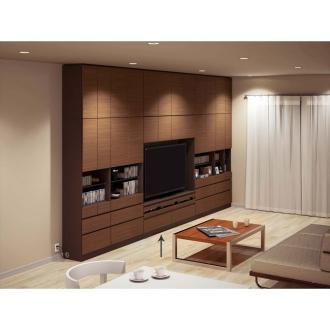 テレビ台の高さが選べて配線も隠せる壁面収納 奥行34cmタイプ テレビ台ミドルタイプ 幅155高さ180cm