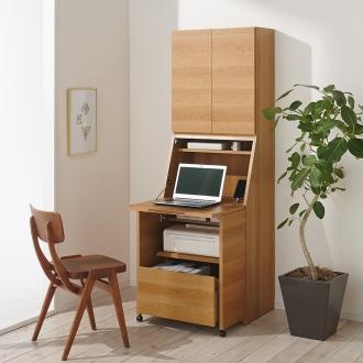 天然木調プリンター収納ライティングデスクシリーズ ハイタイプ・幅60.5cm