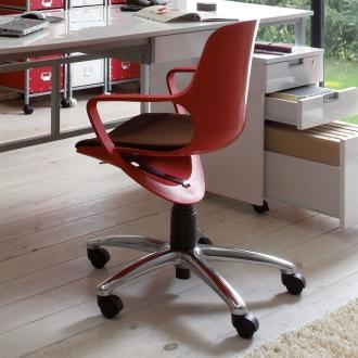 ディノス オンラインショップ北欧風 昇降式スタイルオフィスチェアレッド
