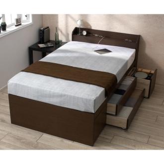 【フレームのみ ダブル】コンセント収納付きベッド