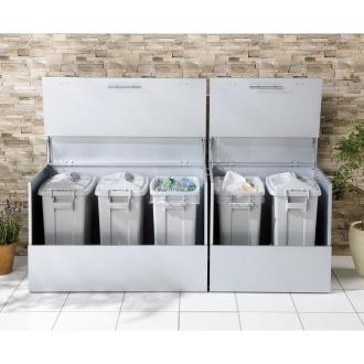 大きく開くガルバ製ゴミ保管庫 幅69奥行55cm ペール2個付き