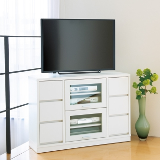 角度が自由自在の収納充実コーナーテレビ台 幅100高さ70cm