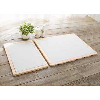 Large (water-absorbing quick drying, deodorant bath mat and gridiron plain bath mat and gridiron set)