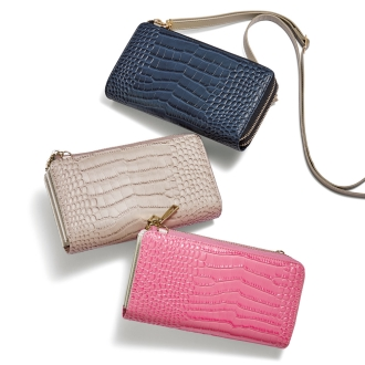 Croco embossed wallet shoulder