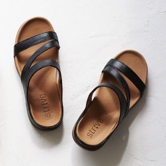 strive / stripe trio leather sandals