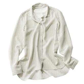 シルク100%ストライプとろみシャツ