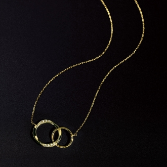 K10雙鑽石圓環吊墜