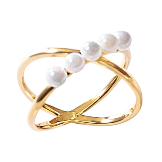 K10 fresh water baby pearl design ring