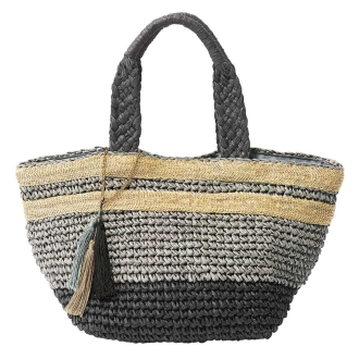 Paper yarn color combination mesh tote bag