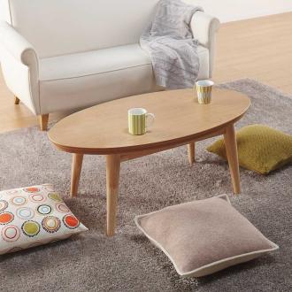 オーク天然木北欧風こたつテーブル オーバル・105×55cm