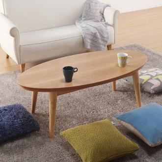 オーク天然木北欧風こたつテーブル オーバル・120×60cm