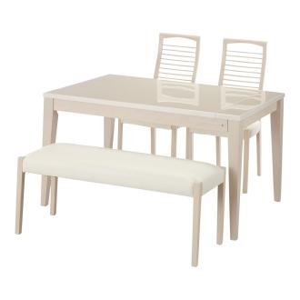光沢が美しい 伸長式 モダンダイニング お得な4点セット(ダイニングテーブル+チェア2脚+ベンチ小)