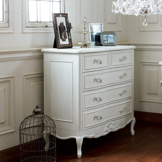 シャビーシック ホワイト フレンチ収納家具シリーズ チェスト 幅90cm