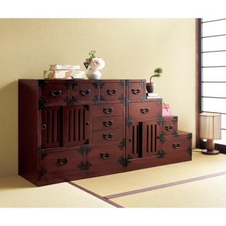 和空間を手軽に叶える 民芸調 リビング収納シリーズ 手許箪笥(小箪笥)