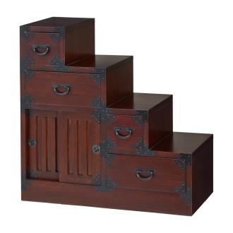 和空間を手軽に叶える 民芸調 リビング収納シリーズ 階段箪笥